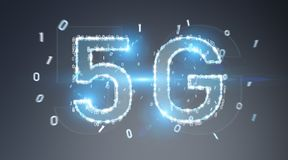 5G network digital hologram 3D rendering. 5G network digital hologram on blue grey background 3D rendering royalty free illustration