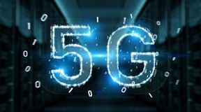 5G network digital hologram 3D rendering. 5G network digital hologram on blue server background 3D rendering Royalty Free Stock Photos