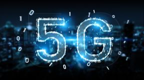 5G network digital hologram 3D rendering. 5G network digital hologram on blue city background 3D rendering Stock Image