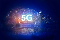 5G network digital hologram and internet of things on city background.5G network wireless systems vector illustration