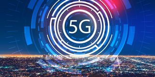 5G network with downtown Los Angeles royalty free stock image