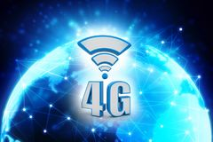 4G Network, 4G Connection Concept 3d rendering. Mobile telecommunication cellular high speed data connection, 4G LTE wireless communication technology Concept royalty free illustration