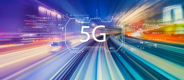 5G network with high speed motion blur stock illustration