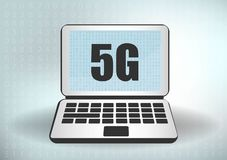 5G network icon and smartphone. 5G new wireless internet wifi connection. Fifth innovative generation of the global high speed stock illustration