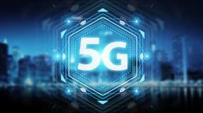5G network interface 3D rendering. 5G network interface on blue background 3D rendering vector illustration