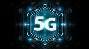 5G network interface 3D rendering. 5G network interface isolated on black background 3D rendering royalty free illustration