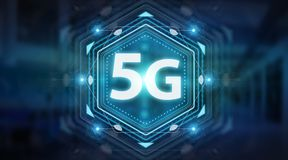 5G network interface 3D rendering. 5G network interface isolated on blue background 3D rendering royalty free illustration