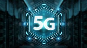 5G network interface 3D rendering. 5G network interface isolated on blue background 3D rendering vector illustration