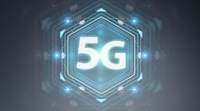 5G network interface 3D rendering. 5G network interface isolated on grey background 3D rendering Stock Photo