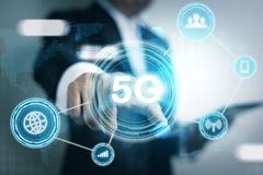 5G Network Internet Mobile Wireless Business concept royalty free stock photography
