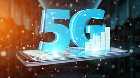 5G network with mobile phone 3D rendering. 5G network with mobile phone on blue background 3D rendering stock illustration