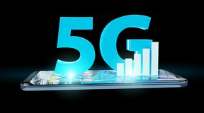 5G network with mobile phone 3D rendering. 5G network with mobile phone isolated on black background 3D rendering royalty free illustration