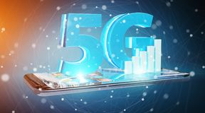 5G network with mobile phone 3D rendering. 5G network with mobile phone isolated on blue background 3D rendering Royalty Free Stock Photos