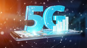 5G network with mobile phone 3D rendering. 5G network with mobile phone isolated on blue background 3D rendering royalty free illustration