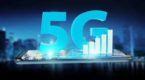 5G network with mobile phone 3D rendering. 5G network with mobile phone isolated on blue background 3D rendering vector illustration