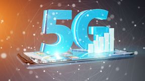 5G network with mobile phone 3D rendering. 5G network with mobile phone isolated on grey background 3D rendering Stock Image