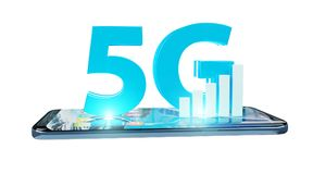 5G network with mobile phone 3D rendering. 5G network with mobile phone isolated on white background 3D rendering Royalty Free Stock Photos