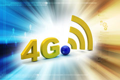 4g with network sign. In color background Stock Image