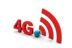4g with network sign. In white background Royalty Free Stock Photos