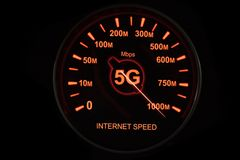 5G network speedometer in high speed royalty free stock images