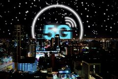 5G network wireless system background concept