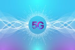 5G network wireless system and internet connection background. 5G symbol communication network. Business technology vector illustration
