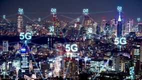 5G network wireless systems and internet communication with modern city. Smart city concept