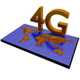 4G network on world map. 4G network poster on world map background stock illustration