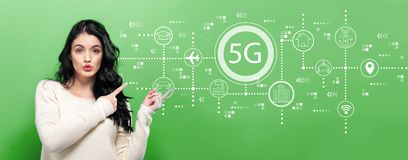 5G network with young woman. Pointing on a green background stock images