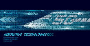 5G new high-speed rail wireless internet wifi concept. Global fast higher railway train. Binary code flow numbers dark. Blue innovation data rate technology Royalty Free Stock Photos