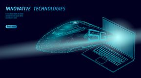 5G new high-speed rail wireless internet wifi concept. Global fast higher railway train. Low poly dark blue polygonal. Triangle laptop dots innovation data rate vector illustration