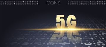 5G new wireless internet wifi connection. royalty free illustration
