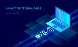 5G new wireless internet wifi connection. Laptop mobile device isometric blue 3d flat. Global network high speed. Innovation connection data rate technology vector illustration