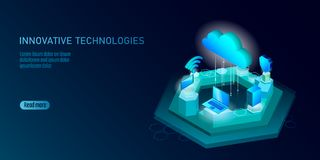 5G new wireless internet wifi connection. Laptop mobile device isometric blue 3d flat. Global network high speed. Innovation connection data rate technology royalty free illustration