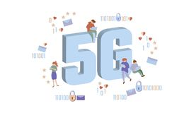 5G new wireless internet wifi connection. Small people large big symbol letters. Gadgets device isometric blue 3d flat stock illustration