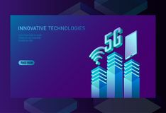 5G new wireless internet wifi connection. Smartphone mobile device isometric blue 3d flat. Global network high speed. Innovation connection data technology vector illustration