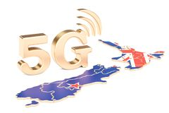 5G in New Zealand concept, 3D rendering. Isolated on white background Royalty Free Stock Photo