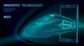 5G nieuw wificoncept van Internet van het hoge snelheidsspoor draadloos Globale snelle hogere spoorwegtrein Lage poly donkerblauw vector illustratie