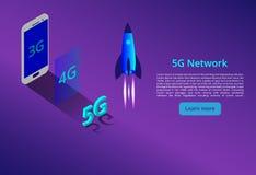 5G nieuwe draadloze Internet-wifiverbinding Isometrisch vectorconcept automatisering met de illustratie van het computervoorzien  vector illustratie