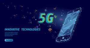 5G nieuwe draadloze Internet-wifiverbinding Laptop mobiele apparaten isometrische blauwe 3d vlakte Globale netwerkhoge snelheid Stock Foto's