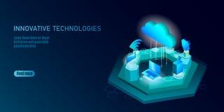 5G nieuwe draadloze Internet-wifiverbinding Laptop mobiele apparaten isometrische blauwe 3d vlakte Globale netwerkhoge snelheid Royalty-vrije Illustratie