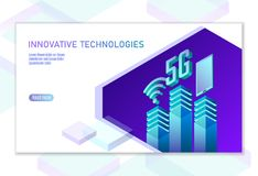 5G nieuwe draadloze Internet-wifiverbinding Mobiele het apparaten isometrische blauwe 3d vlakte van Smartphone Globale netwerkhog royalty-vrije illustratie
