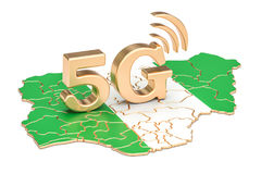 5G in Nigeria concept, 3D rendering. Isolated on white background Royalty Free Stock Photo