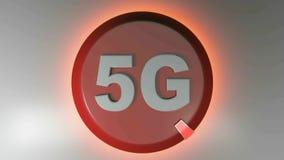 5G okręgu czerwona ikona z płodozmiennym lekkim kursorem - 3D renderingu animacja ilustracja wektor