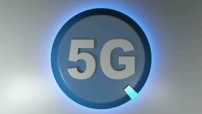 5G okręgu błękitna ikona z płodozmiennym lekkim kursorem - 3D renderingu animacja ilustracji