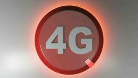 4G okręgu czerwona ikona z płodozmiennym lekkim kursorem - 3D renderingu animacja royalty ilustracja