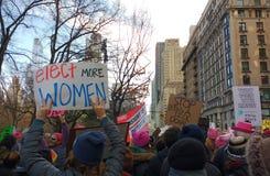 Głosuje dla kobiet, kobiety ` s Marzec, NYC, NY, usa Zdjęcia Stock