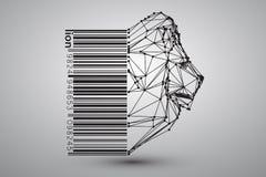 Głowa lew od trójboków, linii i kropek z barcode, Zdjęcia Royalty Free