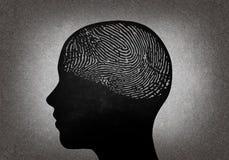Głowa z odciskiem palca Obrazy Stock