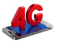 4G phone on white background. Isolated 3D illustration.  Stock Photos